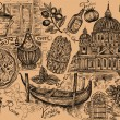 Set of italian symbols and elements of Italian food - Stock Photo