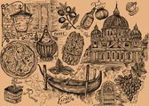Set of italian symbols and elements of Italian food — Stockfoto