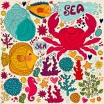 Vector wallpaper with fish, fun crab and marine life — Stock Vector