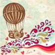 Hand drawing balloon with clouds - Image vectorielle