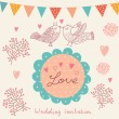 Wedding invitation. Flower pattern - Stok Vektör