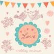 Wedding invitation. Flower pattern — Stock Vector