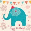 Holiday card with elephant — Imagen vectorial
