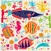 Vector wallpaper with fish and marine life — Stock Vector