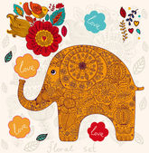 Holiday card with elephant — Stock Vector
