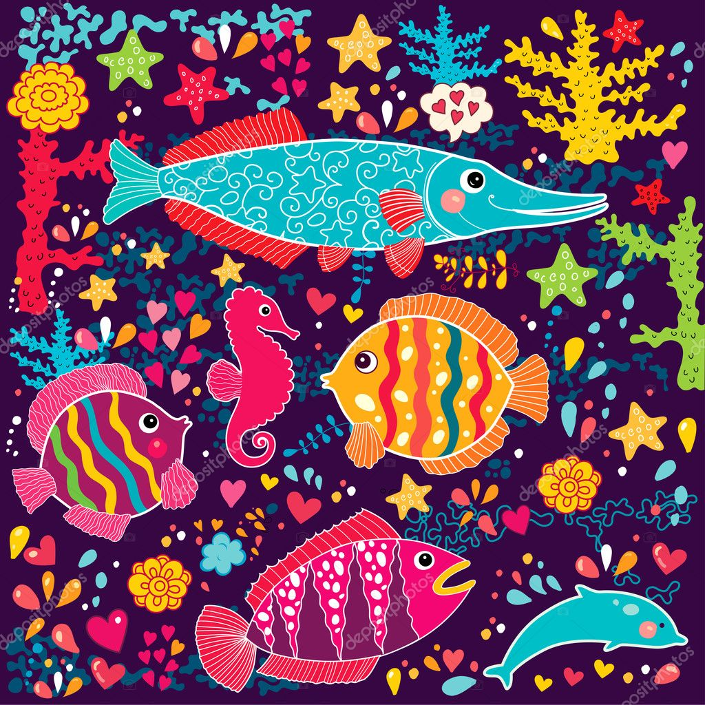 Vector wallpaper with fish and marine life — Stock Vector #11960156