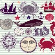 Stock Vector: Nautical and sea symbols