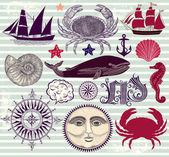 Nautical and sea symbols — Stock Vector