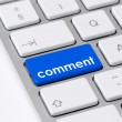 "Keyboard with one blue button with the word ""comment"" — Foto Stock"