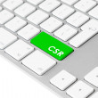 Computer keyboard with green CSR button — Stock Photo
