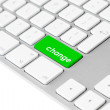 Computer keyboard with green change button — Stock Photo