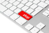 """Computer keyboard with red """"stop"""" button — Stock Photo"""