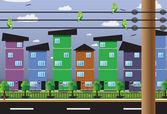 Budovy obytné optických kabelů. — Stock vektor