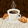 Cup of coffee with croissants - Stock Vector