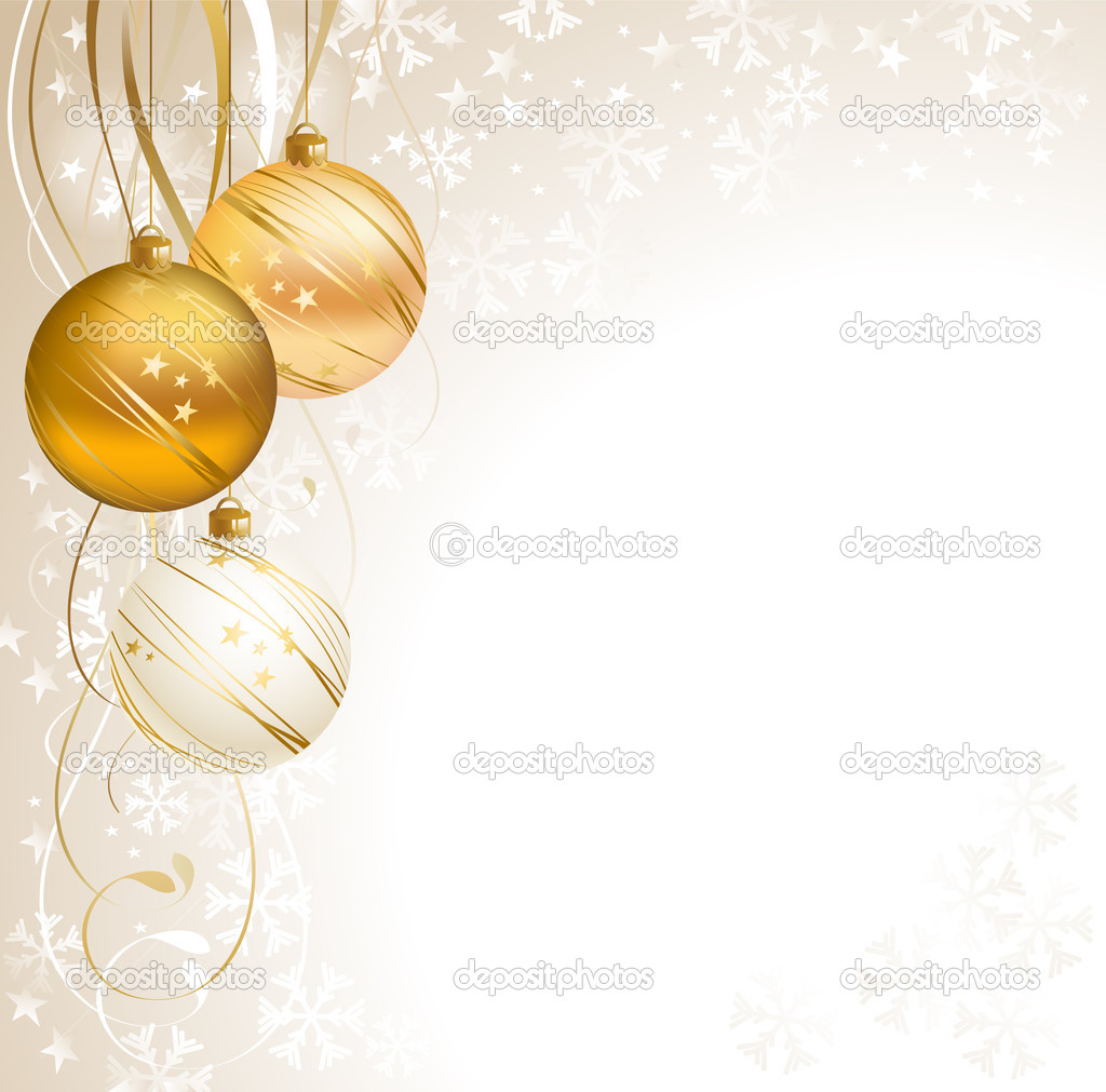 Light Christmas backdrop with three balls — Stock Vector #11758894