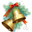 Christmas decoration with evergreen trees and bells — Imagen vectorial