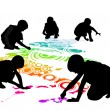 Children draw on the floor by chalk - Stock Vector