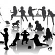 14 children playing with some deferent toys - Imagens vectoriais em stock