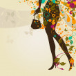 Composition with girl`s legs and bag — Vector de stock #11896150