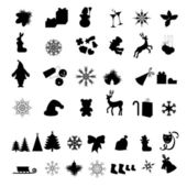 Silhouettes of Different Christmas icon — Stock Vector