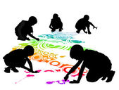 Children draw on the floor by chalk — Stock Vector