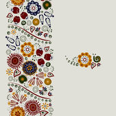 Seamless ornament of bright decorative flowers — Stok Vektör