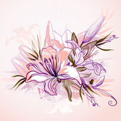 Decorative composition with big drawing lilies — Stock Vector