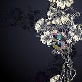Fondo negro con flores decorativas — Vector de stock