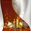 Christmas background with burning candles and Christmas bauble — Stock vektor