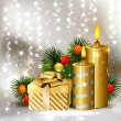 Christmas background with burning candles and Christmas bauble — Vector de stock #11917543