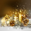 Christmas background with burning candles and Christmas bauble — Stok Vektör #11917592