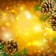 Bright Christmas background with vitality cones and fir tree — Imagen vectorial