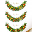 Christmas vector set of three garland with fir tree , evening balls and new year's bells — Vecteur