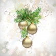 Light Christmas background with three evening balls and fir tree — Stock Vector