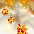 Set of two greeting-cards of Bright Christmas background with two evening balls and gift - Stock Vector