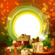 Bright Christmas background with evening balls and a lot of gifts — Stock Vector