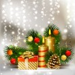Stockvector : Christmas background with burning candles and Christmas bauble