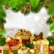 Christmas background with Christmas gifts - Stock Vector