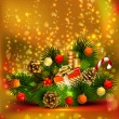 Stockvector : Christmas still life branch of fir tree with burning candles and Christmas bauble
