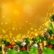 Christmas background with burning candles , fir tree and Christmas bauble - Stock Vector