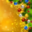 Bright Christmas background with fir tree, candies and evening balls — Векторная иллюстрация
