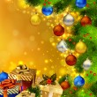 Christmas background with various gifts and green fir tree - Stockvectorbeeld