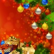 Red Christmas background with various of gifts and green fir tree — Vettoriali Stock