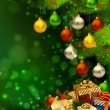 Green Christmas background with various of gifts and green fir tree - Векторная иллюстрация