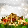 Christmas background with various gifts and green fir tree - Векторная иллюстрация