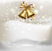 Campanas festivas en el fondo de navidad — Vector de stock