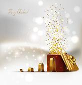 背景与开放明亮的圣诞礼物 — 图库矢量图片