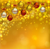 Bright glimmered Christmas background with shine evening balls — Stock Vector