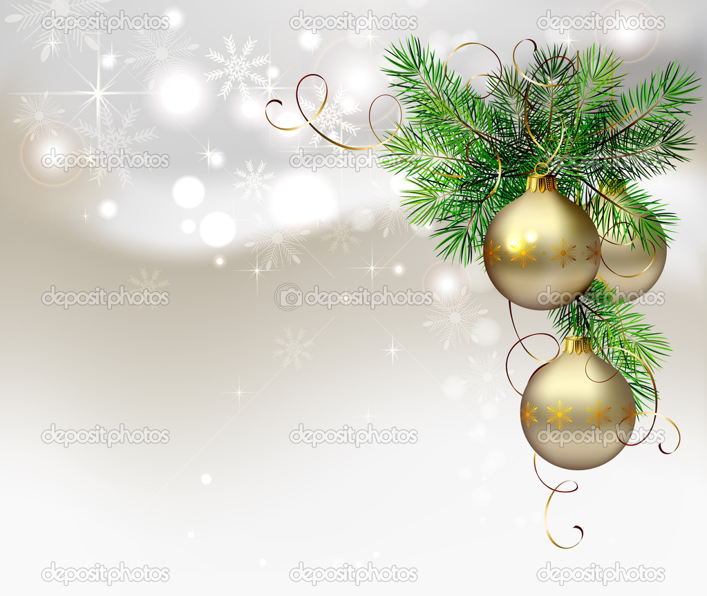 Light Christmas background with evening balls and fir tree  Stock Vector #11917445
