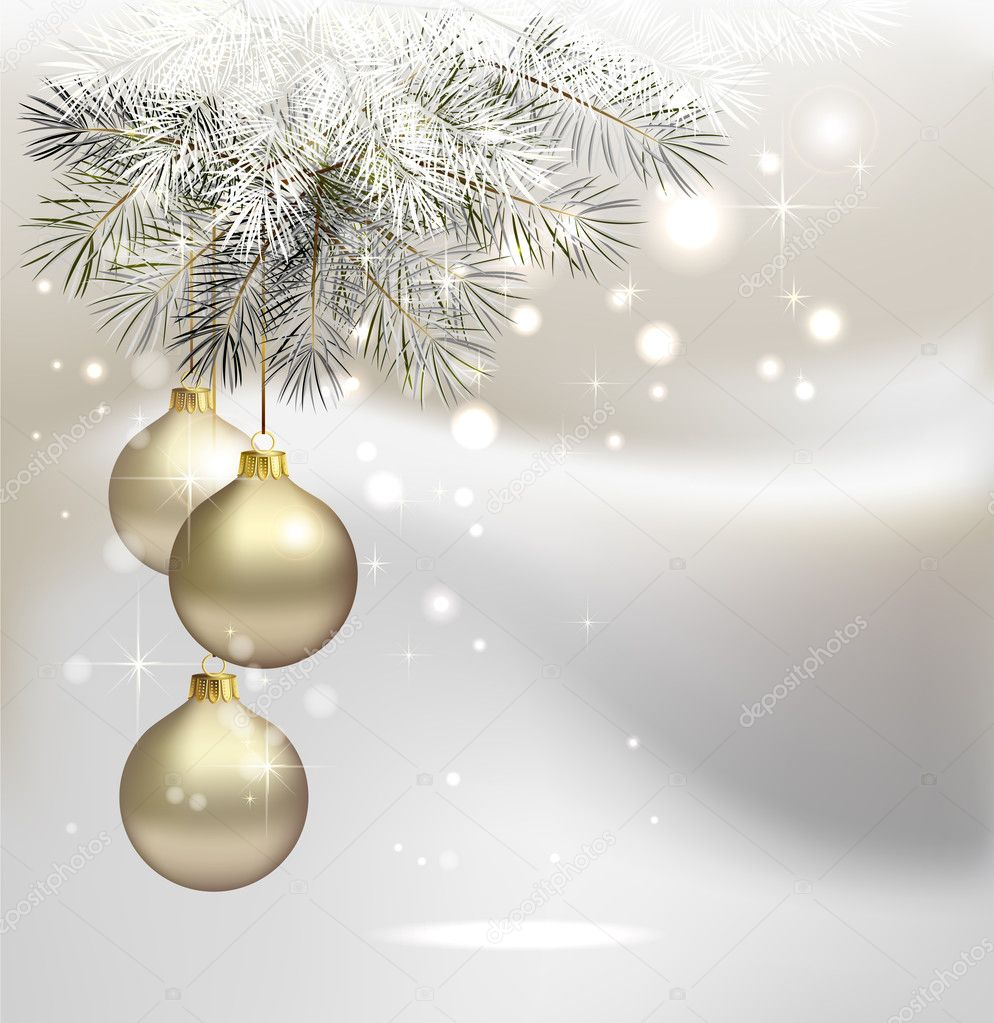 Light Christmas background with silver evening balls — Stock Vector #11917491